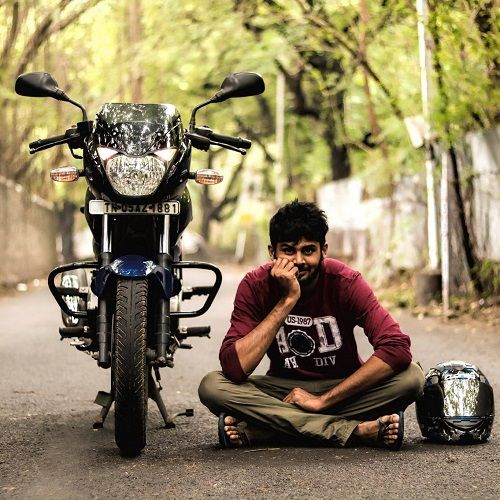 Sreevathsav Chandrasekar with his motorcycle