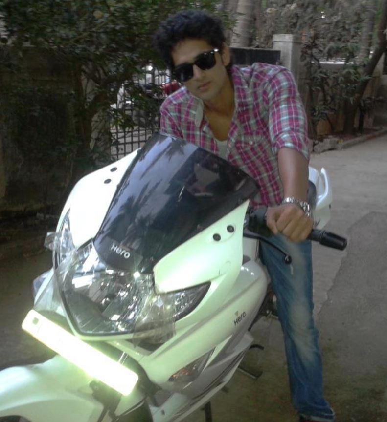 Vikas Khoker with his bike
