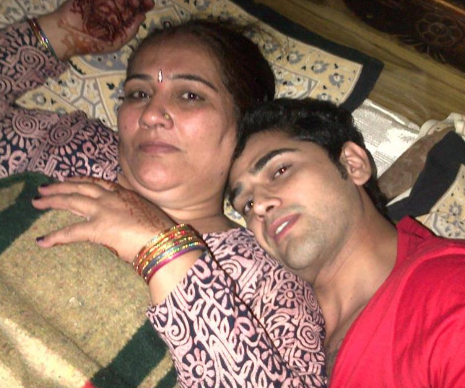 Vikas Khoker with his mother