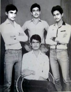 Young Ajit Anjum (on right) with his friends during college days