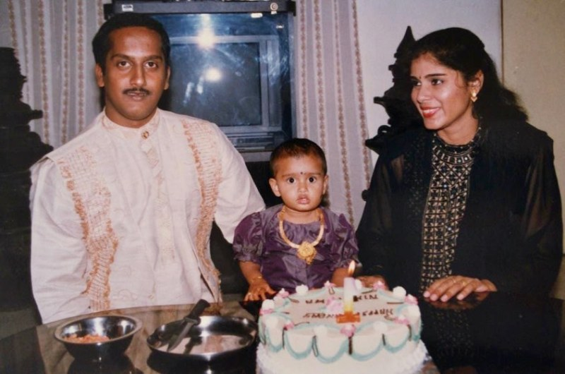Childhood picture of Niharika Nm with her parents