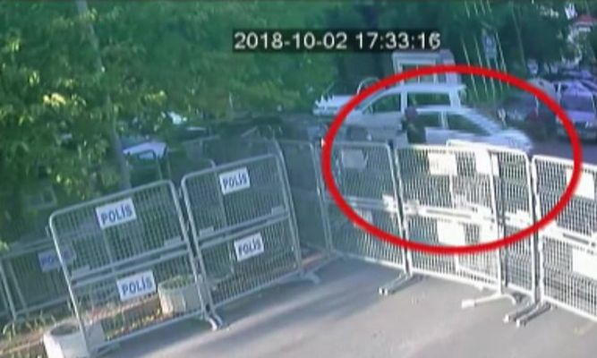 A CCTV footage showing Hatice Cengiz waiting for Jamal Khashoggi outside the Saudi consulate