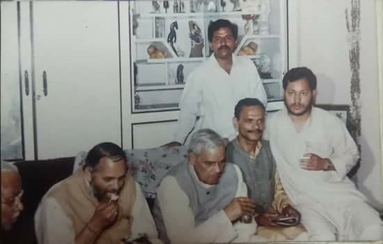 A picture from around 1987 when Atal Bihari Vajpayee had come for a Garhwal tour and Tirath (extreme right), who was then an RSS pracharak, was overseeing the tour