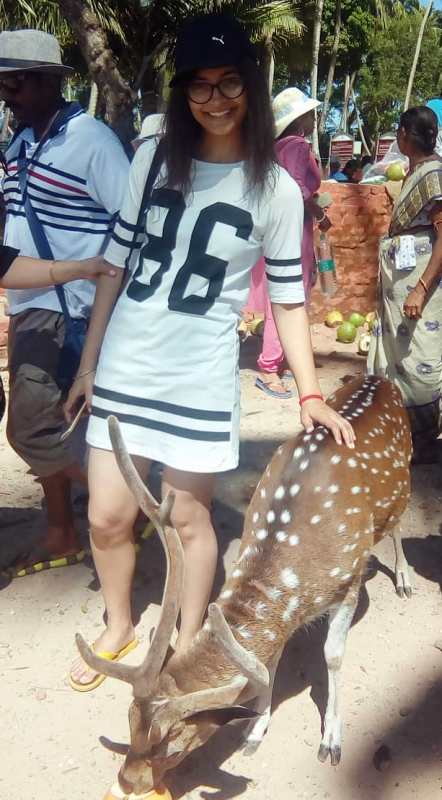 A picture of Mansi with Chital Deer in 2017