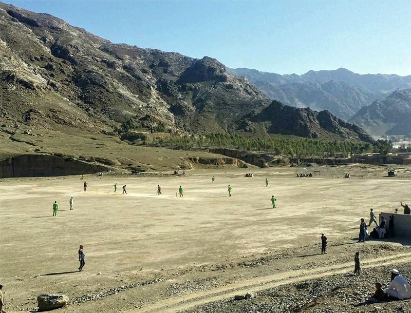An aerial view image of Tatara Ground in Landi Kotal, where Shaheen Afridi used to play tennis ball cricket
