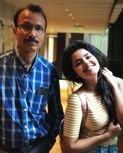 Anupama Parmeshwaram with her father