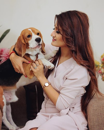 Arushi Nishank with her pet dog, Tazz
