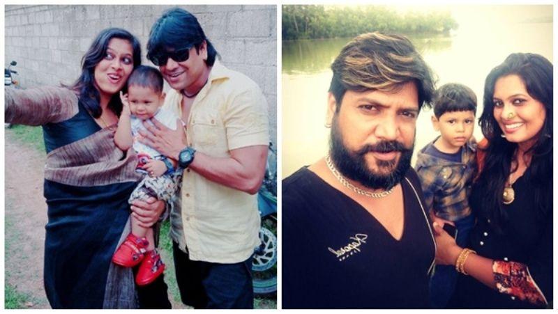 Firoz Khan with his wife and son