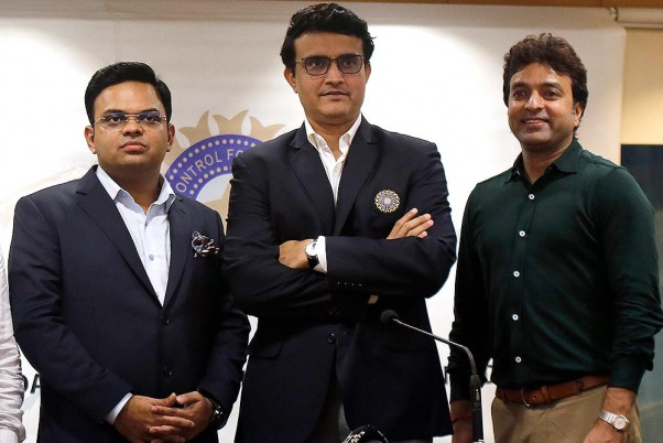 Jay Shah (left), Sourav Ganguly, (center), and BBCI Treasurer Arun Dhumal (right) standing for a picture during a BCCI press conference in Mumbai