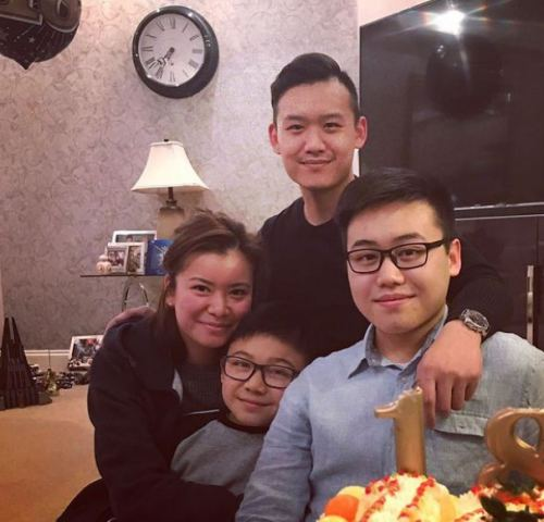Katie Leung with her brothers