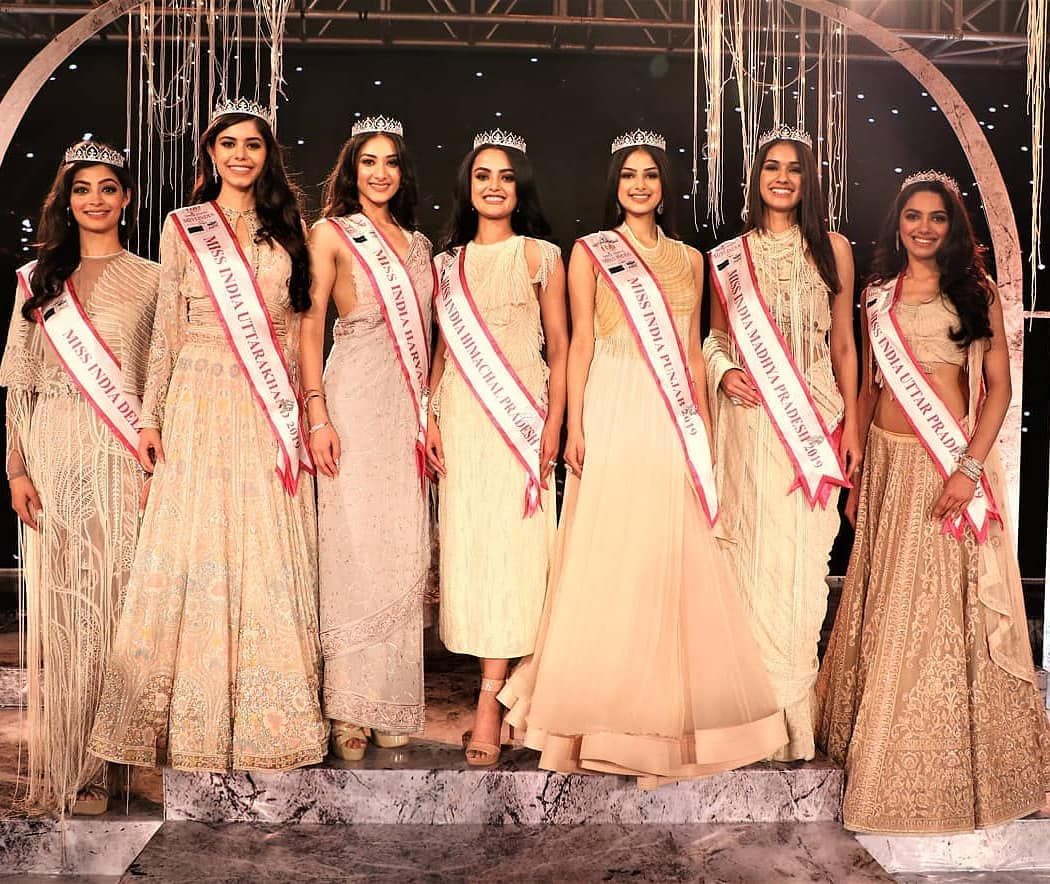 Mansi Sehgal (extreme left) posing among the state winners of Miss Femina Miss India 2019