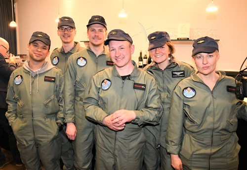Peter Madsen (center) with his team of volunteers at Rocket Madsen Space Lab