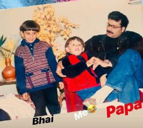 Samarthya Gupta's (in the centre) childhood picture with his brother and father