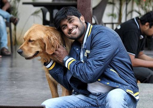 Shamanth Gowda with a dog