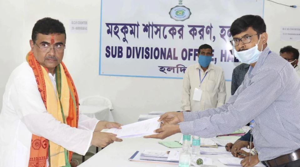 Suvendu Adhikari filing his nomination from the Nandigram constituency, ahead of the 2021 West Bengal Legislative Assembly election