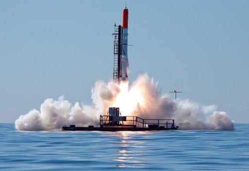 The launch of the first rocket developed by Peter Madsen