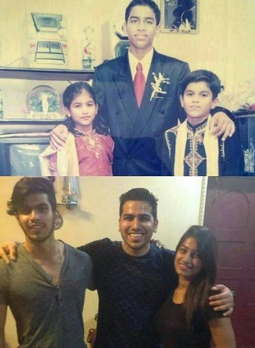 Then and now pictures of Trevon Dias with his siblings