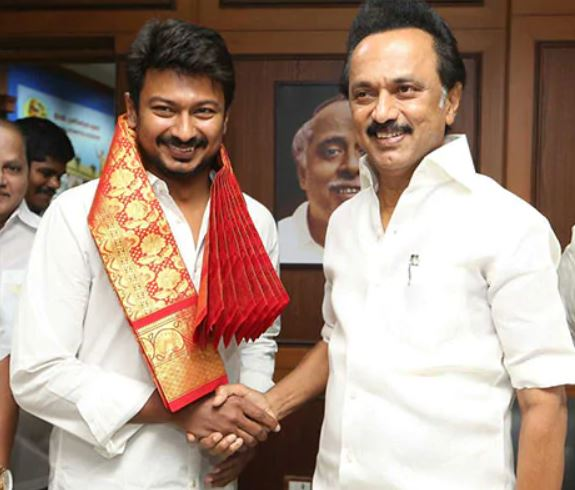 Udhayanidhi Stalin being greeted by his father, MK Stalin, on taking up the post of national youth secretary of DMK