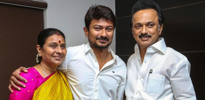 Udhayanidhi Stalin (middle) with his father MK Stalin (right) and mother Durga Stalin (left)