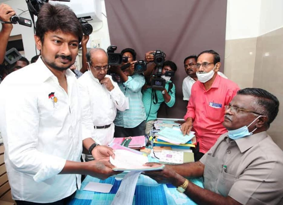 Udhayanidhi filing his nomination papers ahead of 2021 Tamil Nadu Legislative election