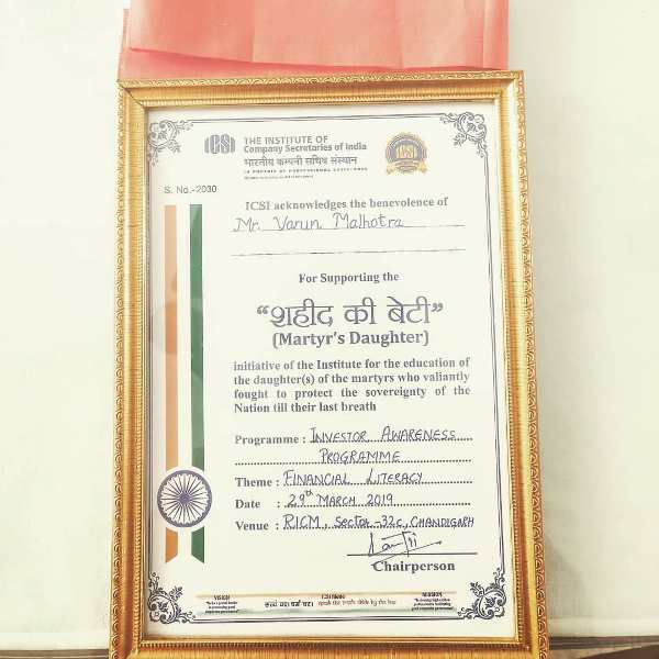 Varun Malhotra's certificate of acknowledgement from ISCI