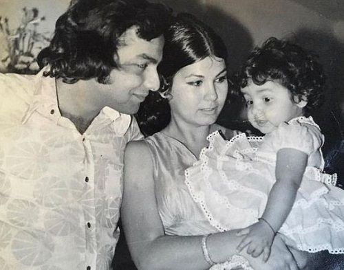 A childhood picture of Pooja Bhat with her parents