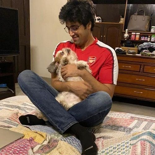 Adivi Sesh with his pet dog Junnu