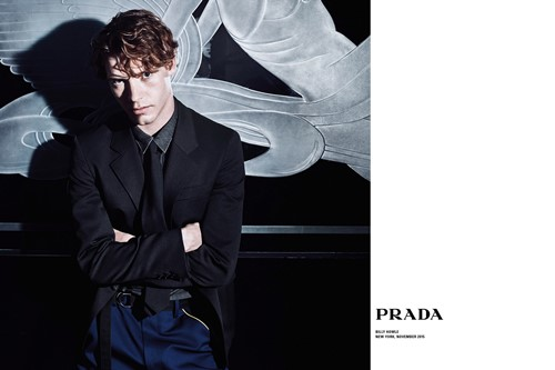 Billy Howle posing as the poster boy for Prada