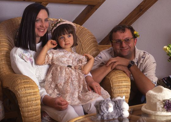 Childhood picture of Maria Sobocinska with her parents