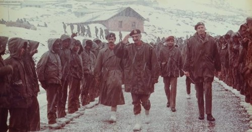 Hanut Singh (middle) with his fellow officers addressing the soldiers in Sikkim