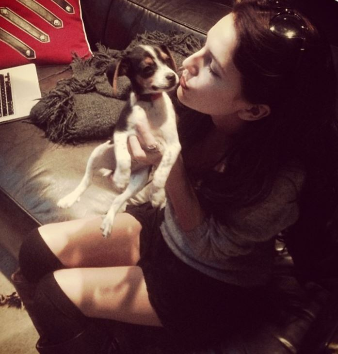Isabelle Kaif with a puppy