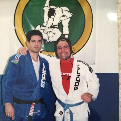 Joe Rogan with Jean Jacques Machado during a training session in 1990