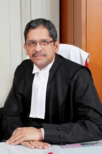 Justice N. V. Ramana in his office