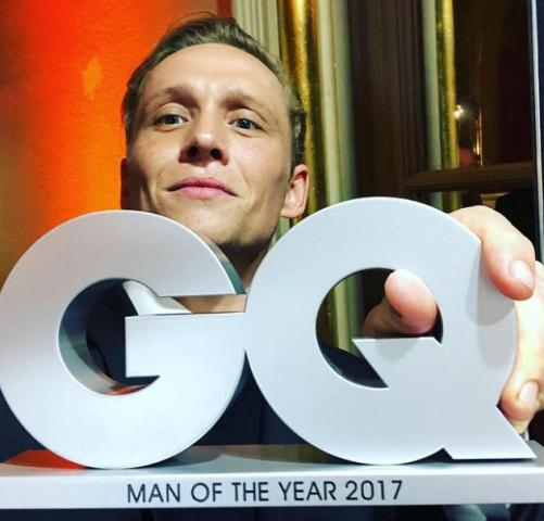 Matthias Schweighöfer with his GQ Man of the Year award