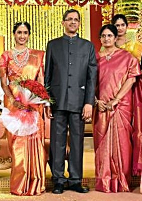 N. V. Ramana with his wife and daughters
