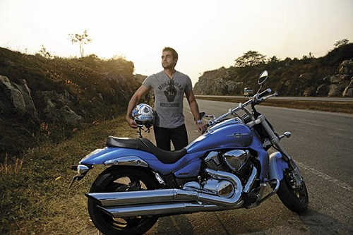 Nikhil Kamath with his motorcycle