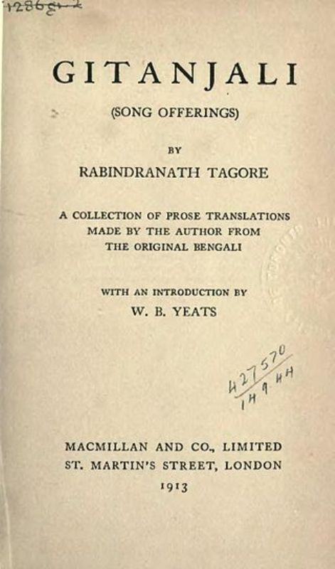Title page of the 1913 Macmillan edition of Tagore's Gitanjali