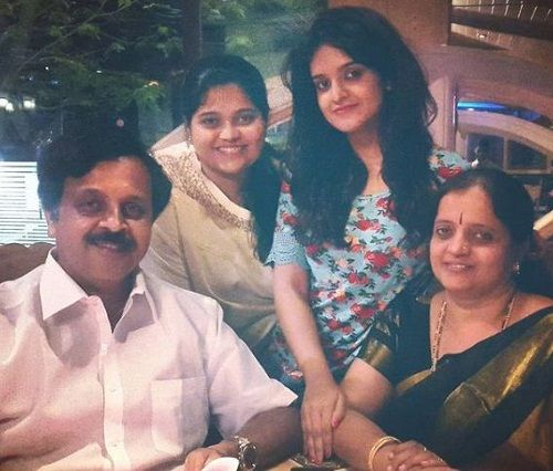 Vyjayanthi Adiga with her parents and sister