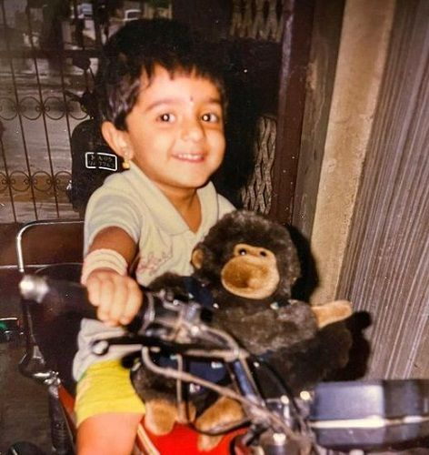 Vyjayanthi Adiga's childhood picture with her favourite toy