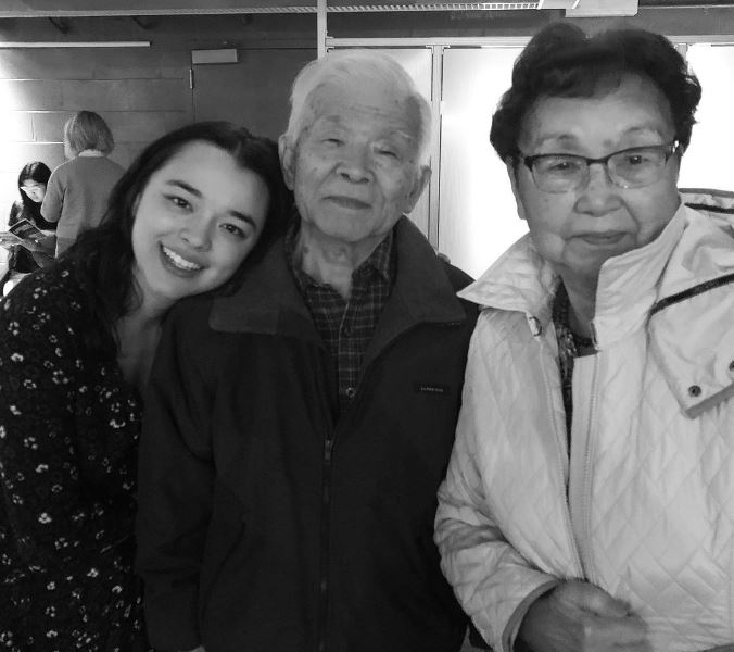 Midori Francis with her grandparents