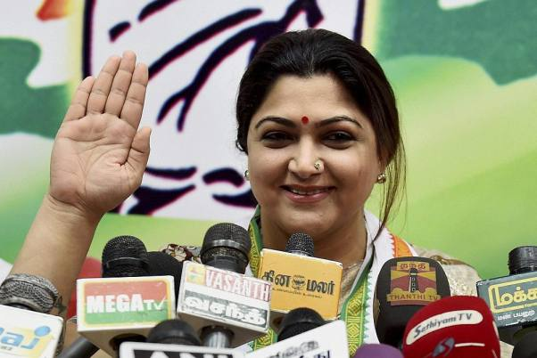 Kushboo Sundar appearing before media after being appointed the national spokesperson of the INC