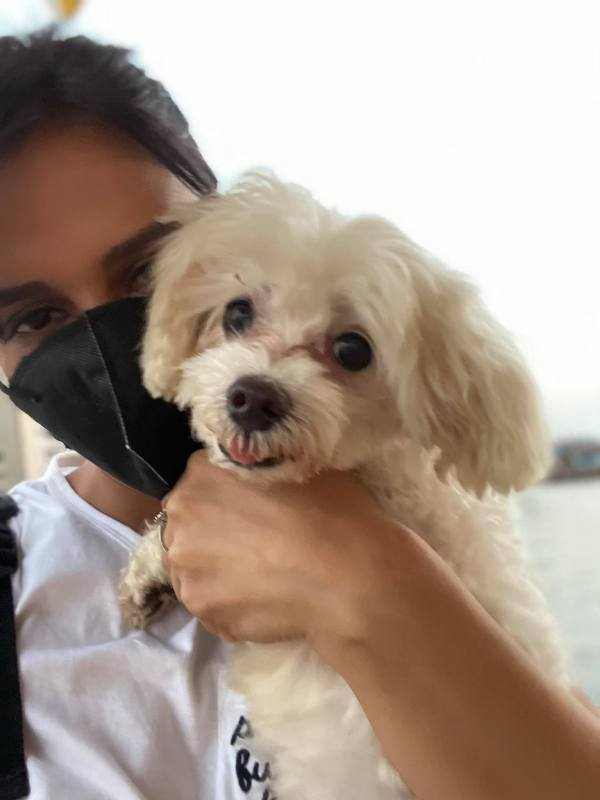 Shipra with her pet dog