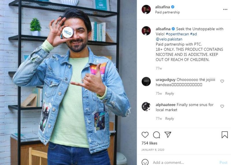 Ali Safina promoting a brand called Velo on his Instagram account