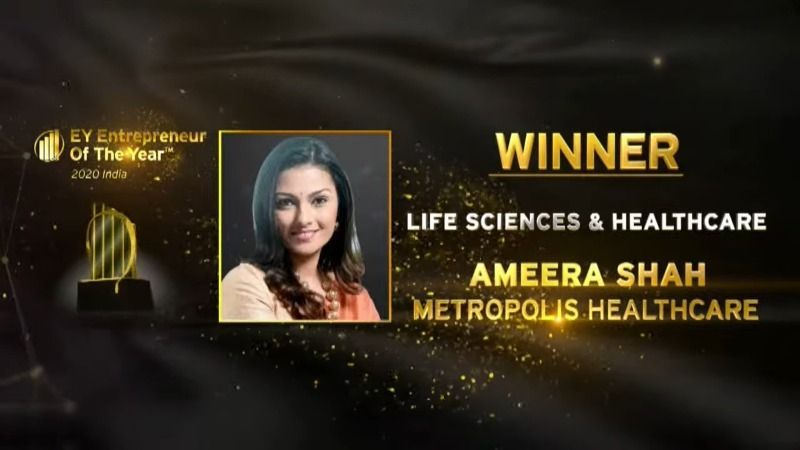 Ameera Shah won The Entrepreneur of the Year' award in 2020 in the Life sciences and Health Care category