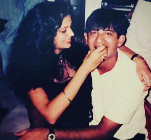 An old picture of Raj Kaushal and Mandira Bedi