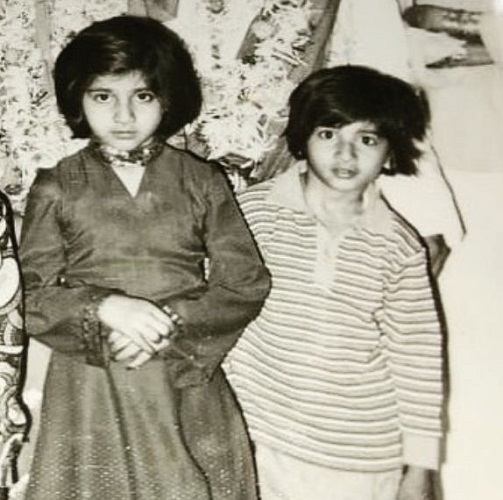 An old picture of Raj Kaushal and his sister