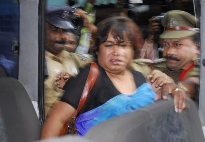 Bangladeshi writer Taslima Nasrin when escorted out of the press club by the Indian Police after she was manhandled by angry Muslim protesters in Hyderabad, India, Thursday, Aug 9, 2007