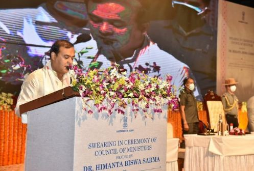 Himanta Biswa Sarma sworning in as the chief minister of Assam