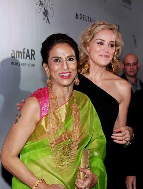 Hollywood star Sharon Stone and Shobha De during an American Foundation for AIDS Research (amfAR) event in Mumbai