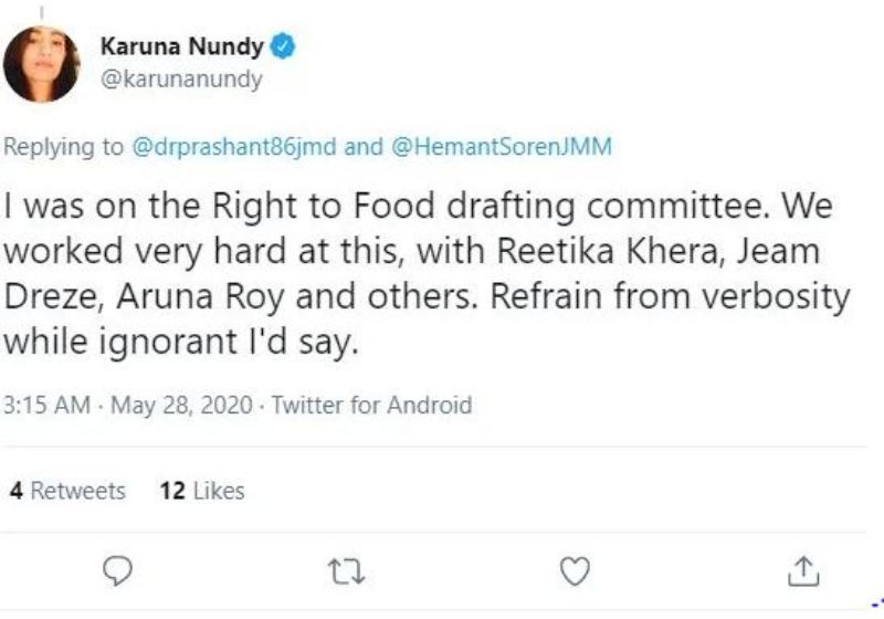 Instagram post of Karuna when she was on Right to Food drafting Committee, 2020